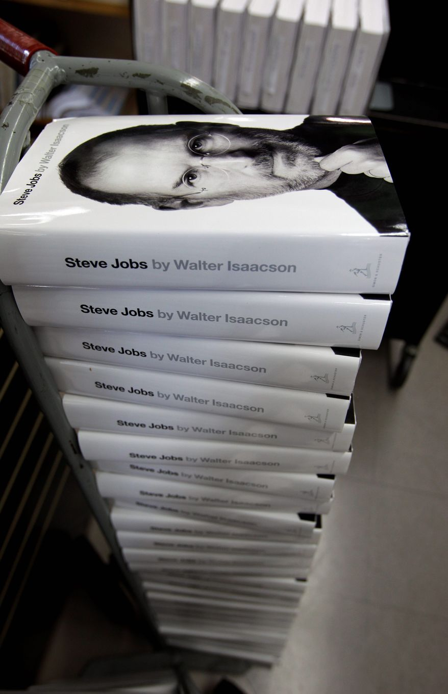 "Walter Isaacson's biography ""Steve Jobs"" went on sale last week. Jobs died Oct. 5 at 56 after a long struggle with pancreatic cancer. (Associated Press)"