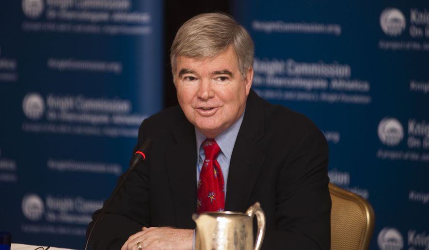 NCAA Division I Board of Directors passed a number of sweeping measures Thursday, Oct. 27, 2011, most notably allowing conferences to vote on providing up to $2,000 in spending money to college athletes. NCAA President Mark Emmert is shown above. (PRNewsFoto/Knight Commission on Intercollegiate Athletics, Lisa Helfert)