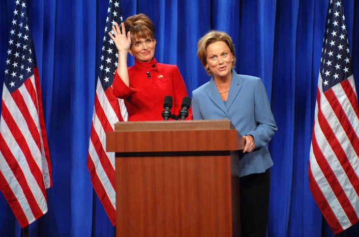 """A 2008 """"Saturday Night Live"""" skit featuring Tina Fey as Sarah Palin and Amy Poehler as Hillary Rodham Clinton is one example of how a viral video can infect a candidate with a poor public image. (Associated Press)"""