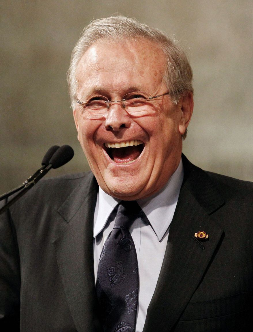Former Secretary of Defense Donald H. Rumsfeld must be looking forward to American Spectator's Robert L. Bartley Dinner on Tuesday. (Associated Press)
