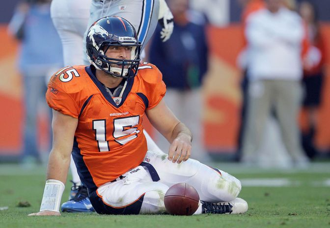 Tim Tebow has completed just 46 percent of his passes and been sacked 13 times since replacing Kyle Orton as Denver's starting quarterback. (Associated Press)
