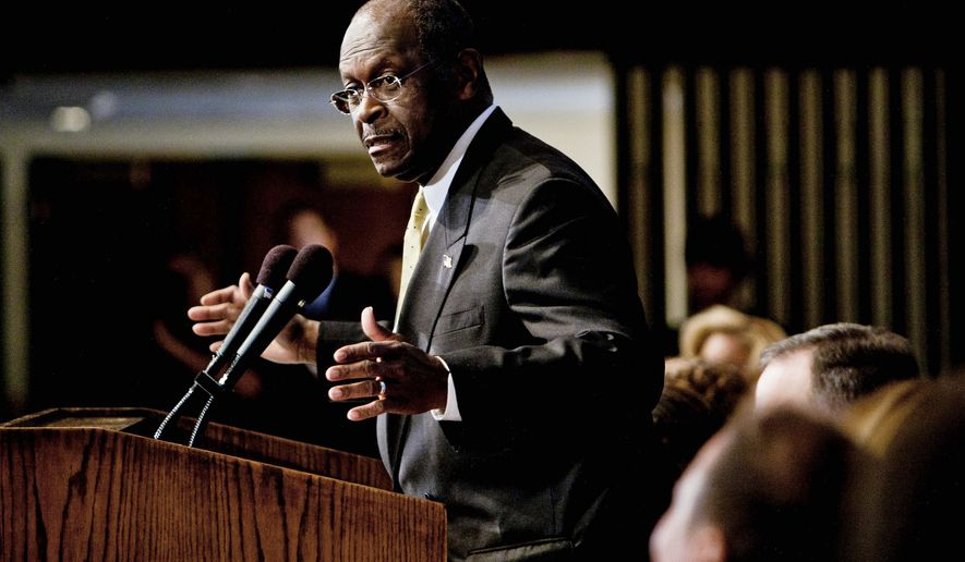 """I have never sexually harassed anyone,"" GOP presidential candidate Herman Cain said during a luncheon at the National Press Club in Washington on Monday. The Republican hopeful answered questions about his 9-9-9 tax plan, restated his stance on abortion and denied allegations of sexual harassment. (T.J. Kirkpatrick/The Washington Times)"