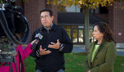 Luis Montano, the uncle of Carlos A. Martinelly Montano, and Martinelly Montano's mother, Maria Martinelly, discuss the case with reporters during a break in front of the Prince William County Judicial Center in Manassas, Va., on Monday. Martinelly Montano on Monday morning pleaded guilty to involuntary manslaughter, two counts of maiming as a result of driving while intoxicated, driving on a revoked license and a third drunken-driving charge within five years. (Rod Lamkey Jr./The Washington Times)