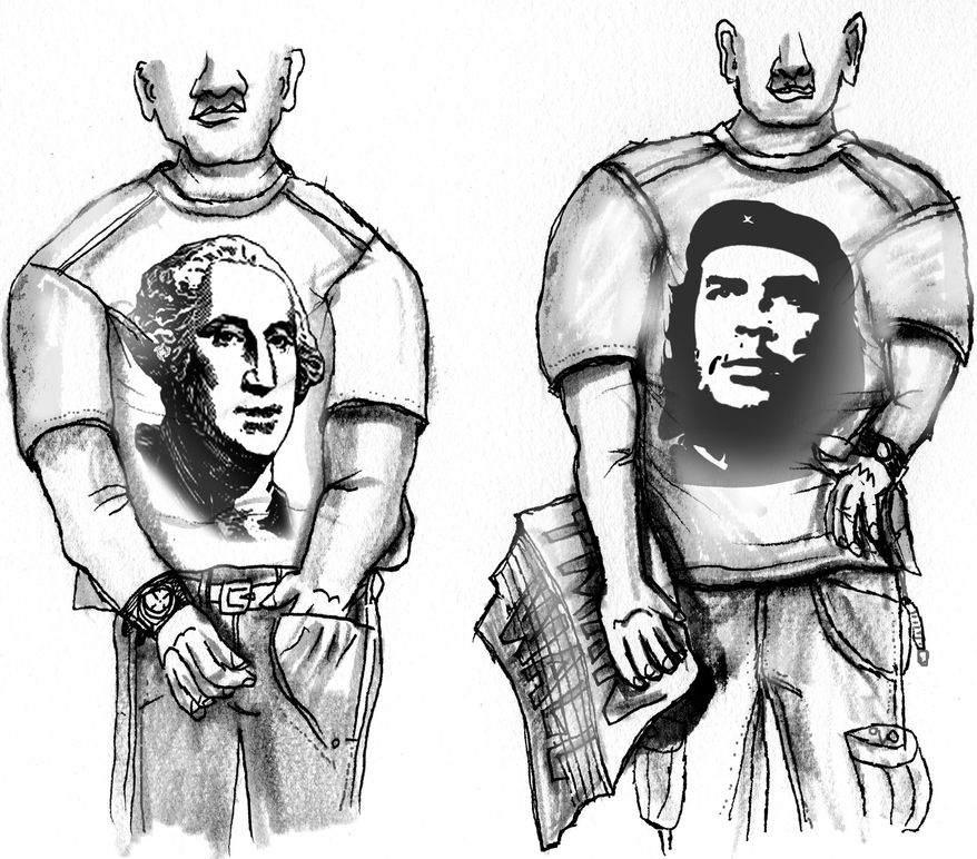 Illustration: Tea Party vs. Occupy Wall Street by John Camejo for The Washington Times