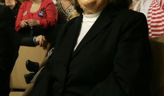 **FILE** Dorothy Rodham, mother of Hillary Rodham Clinton, listens to her daughter speak at a campaign rally in Scranton, Pa., on April 21, 2008. (Associated Press)