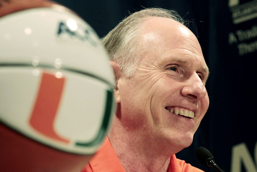 Jim Larranaga led George Mason to a 27-7 record and into the NCAA tournament's round of 32 last season. After 14 years with the school, 273-164 record, and five NCAA tournament appearances, the 62-year-old Larranaga left to coach Miami. (Associated Press)