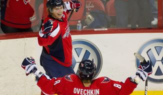 Alex Ovechkin was benched for the last couple of minutes of regulation Tuesday night, but he was on the ice when Nicklas Backstrom scored in overtime to give the Capitals a 5-4 win over the Anaheim Ducks. (Andrew Harnik/The Washington Times)