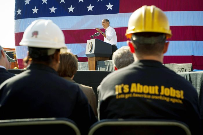 President Obama implores Congress to pass the infrastructure part of the American Jobs Act as he speaks on  Wednesday, Nov. 2, 2011, to a Washington audience that includes ironworkers and steamfitters at Georgetown Waterfront Park. (Rod Lamkey Jr./The Washington Times)