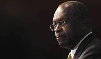 Republican presidential candidate Herman Cain speaks at the National Press Club in Washington on Oct. 31, 2011. (Associated Press)