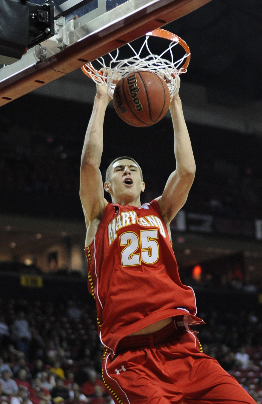 Maryland's Alex Len joined the team just before the start of the fall semester, and even though he must sit 10 games, he's been cleared to practice. (AP Photo/Nick Wass)