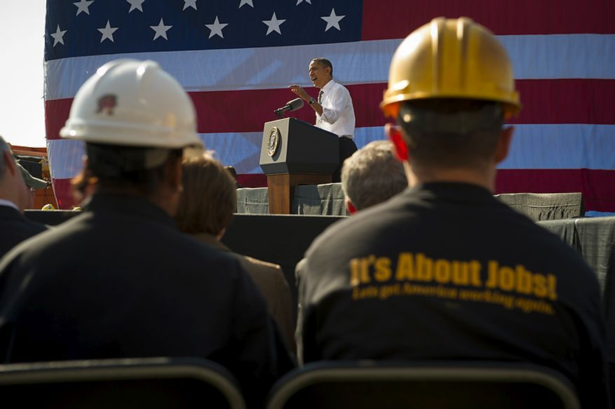 President Barack Obama offers remarks urging Congress to pass the infrastructure part of the American Jobs Act, in front of a crowd which included iron workers and steam fitters, at Georgetown Waterfront Park in Washington, D.C., Wednesday, November 2, 2011. (Photo/Rod Lamkey Jr./The Washington Times)