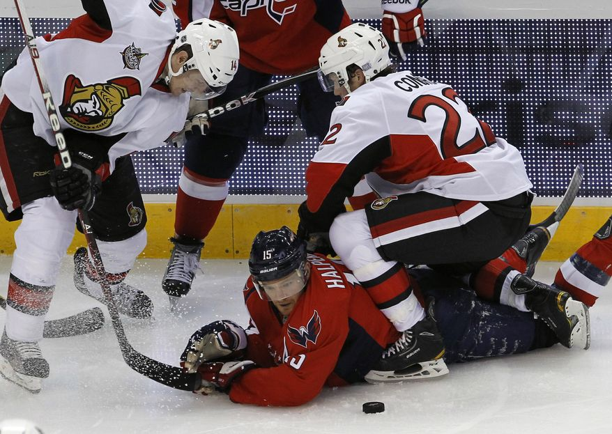 Washington Capitals center Jeff Halpern was a healthy scratch Tuesday night against the Anaheim Ducks. Cody Eakin, who was called up from the American Hockey League's Hershey Bears, replaced him in the lineup. (AP Photo/Ann Heisenfelt)