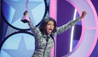 Actress and singer Taraji P. Henson is honored at the sixth annual Black Girls Rock Awards in New York. The awards show will be broadcast Sunday on BET. (BET via Associated Press)