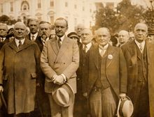 President Coolidge poses with an international delegation from the Scottish Rite of Freemasonry, including John Henry Cowles, the sovereign grand commander, to the president's right. While not a Freemason himself, he was known to speak well of them. (Library of Congress)