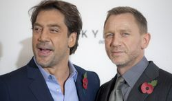 "Actors Daniel Craig (right) and Javier Bardem will star in the James Bond film ""Skyfall,"" the 23rd in the series. (AP Photo/Joel Ryan)"