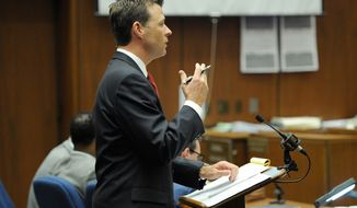 ** FILE ** Deputy District Attorney David Walgren speaks in Los Angeles Superior Court on Tuesday, Nov. 1, 2011, during rebuttal testimony in the final stage of Dr. Conrad Murray's defense in his involuntary-manslaughter trial in the death of singer Michael Jackson. (AP Photo/Kevork Djansezian, Pool)