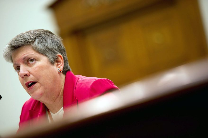 **FILE** Homeland Security Secretary Janet A. Napolitano (Andrew Harnik/The Washington Times)