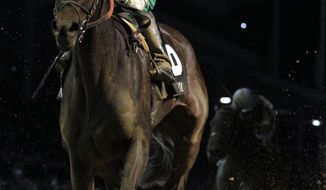 Jose Lezcano rides Royal Delta to victory during the Ladies' Classic race at the Breeders' Cup horse races at Churchill Downs Friday, Nov. 4, 2011, in Louisville, Ky. (AP Photo/David J. Phillip)