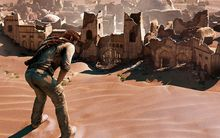 Nathan Drake catches his breath in the video game Uncharted 3: Drake's Deception.