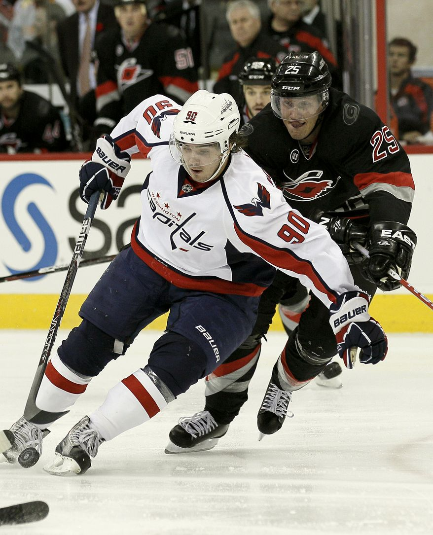 Washington Capitals' second-year center Marcus Johansson is one of 17 Caps to record goals this season. He has five goals on the year. (AP Photo/Gerry Broome)