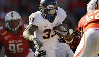 Virginia running back Perry Jone ran for 139 yards and two touchdowns against Maryland on Saturday. The Cavs won 31-13. (AP Photo/Patrick Semansky)
