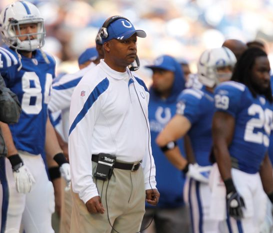 Indianapolis Colts coach Jim Caldwell looks on during the first half of an NFL football game against the Atlan