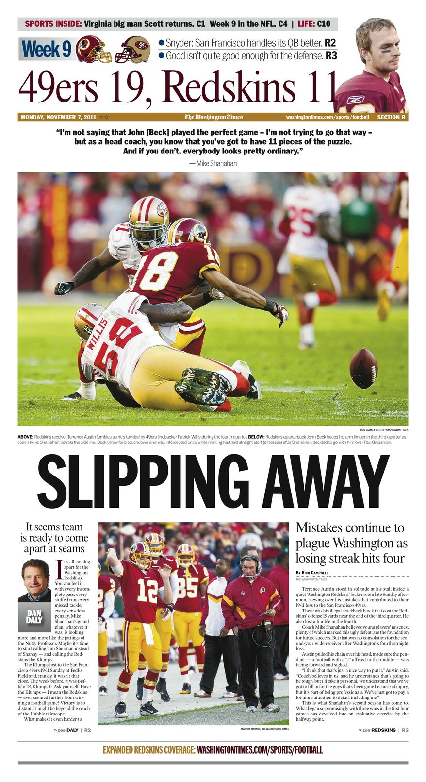 Week 9: Mistakes plague Redskins in 19-11 loss to 49ers.