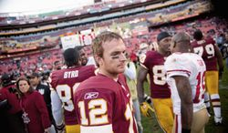 Washington Redskins QB John Beck leaves the field after the 19-11 loss to the San Francisco 49ers at FedEx Field in Landover, Md. Sunday, November 6, 2011. (Andrew Harnik / The Washington Times)
