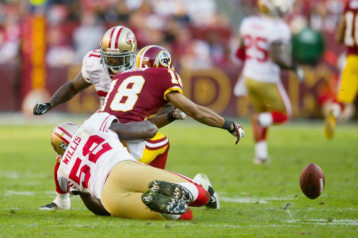 Washington Redskins WR Terrence Austin fumbles the ball, which was recovered by the San Francisco 49ers during the fourth quarter at FedEx Field in Landover, Md. Sunday, November 6, 2011. (Rod Lamkey Jr. / The Washington Times)