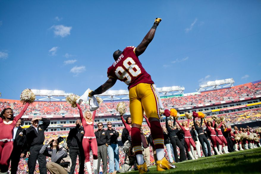 Washington Redskins Brian Orakpo (98) takes the field to play the San Francisco 49ers at FedEx Field in Landover, Md. Sunday, November 6, 2011. (Pratik Shah / The Washington Times)