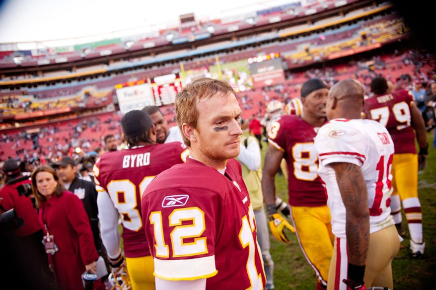 Washington Redskins John Beck (12) leaves the field after a loss to the San Francisco 49ers at FedEx Field in Landover, Md. Sunday, November 6, 2011. (Andrew Harnik / The Washington Times)