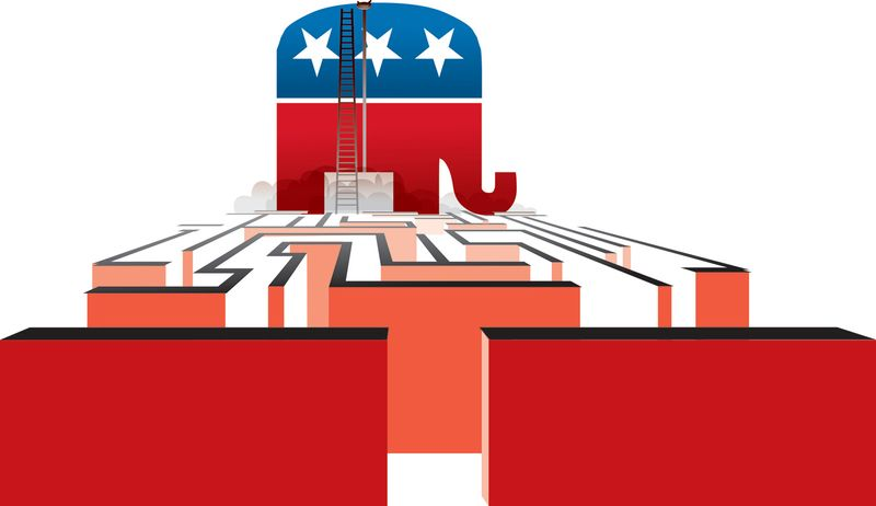 Illustration: GOP maze by Linas Garsys for The Washington Times