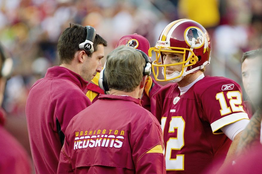 Quarterback John Beck says the Redskins need to concentrate on getting better rather than dip into a bag of gadget plays. (Andrew Harnik / The Washington Times)