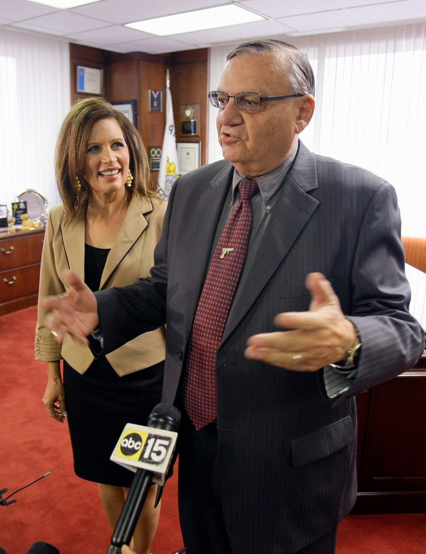 The controversy that Maricopa County Sheriff Joe Arpaio generates hasn't stopped presidential candidates from meeting with him, as Rep. Michele Bachmann of Minnesota did in September. The sheriff makes inmates wear pink underwear and live in tents during Arizona's sweltering summers. (Associated Press)
