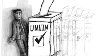 Illustration: Union vote by John Camejo for The Washington Times