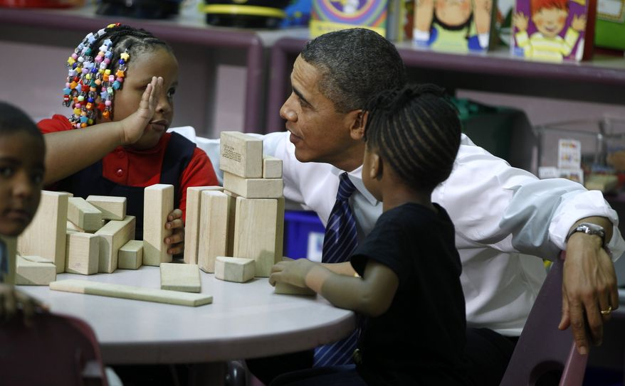 ** FILE ** President Obama visits a classroom at Yeadon Regional Head Start Center in Yeadon, Pa., on Tuesday, Nov. 8, 2011. (AP Photo/Charles Dharapak)