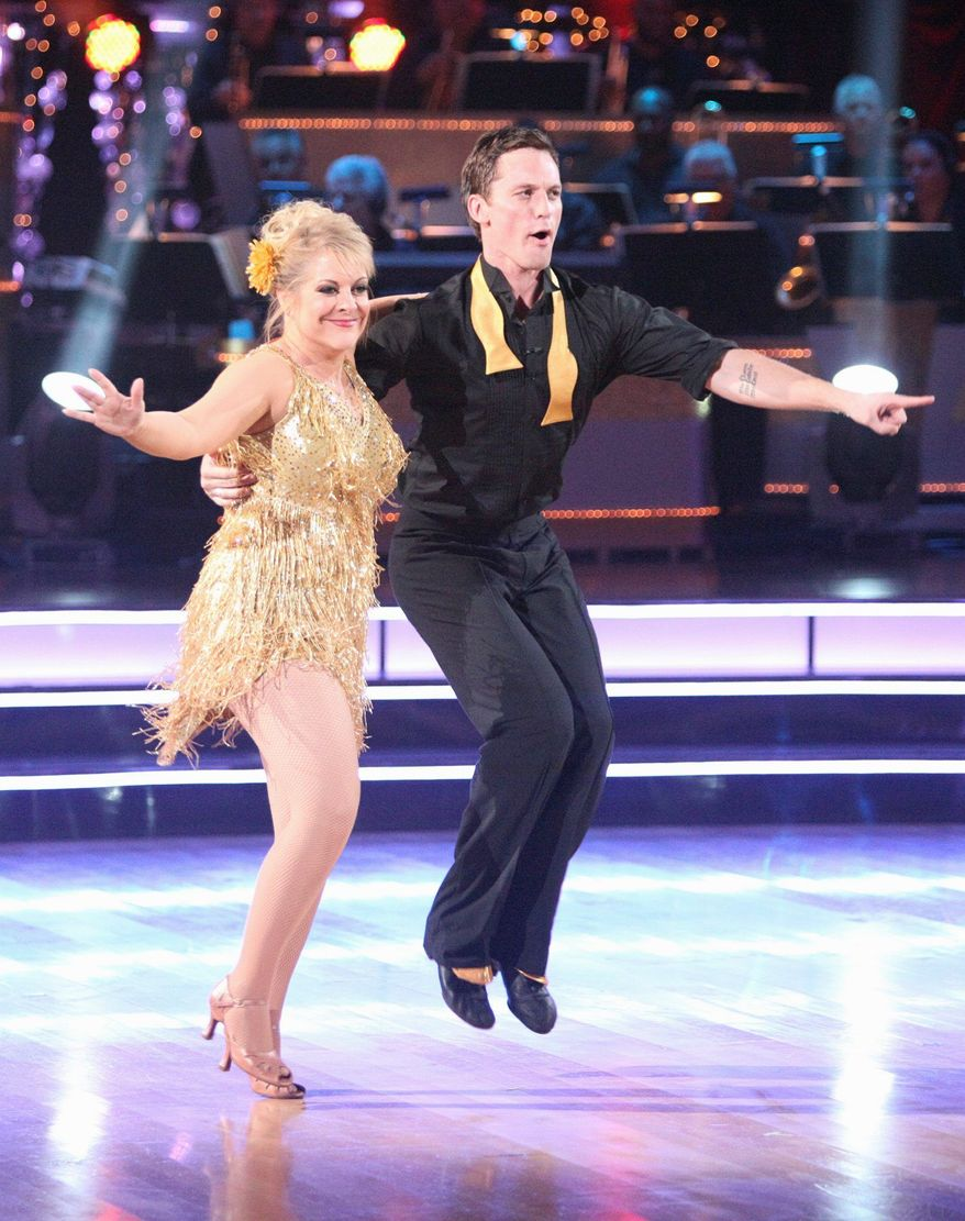 """Nancy Grace and her partner, Tristian Macmanus, perform on the dance competition series """"Dancing With the Stars"""" on Monday in Los Angeles. (Associated Press)"""