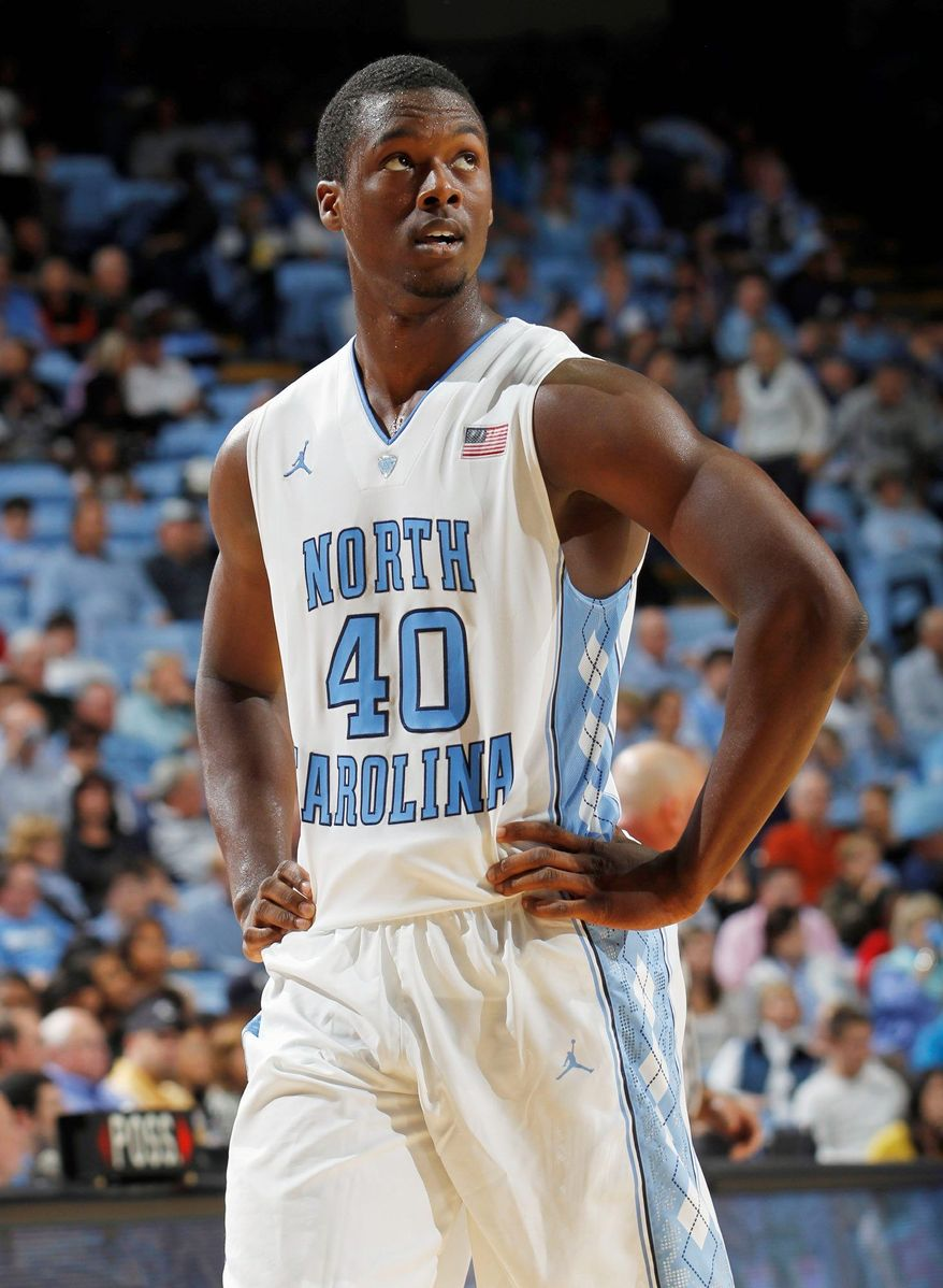 ** FILE ** In this Oct. 28, 2011, file photo, North Carolina's Harrison Barnes looks on during the first half of an exhibition NCAA college basketball game against UNC-Pembroke in Chapel Hill, N.C. (AP Photo/Jim R. Bounds, File)