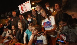 "Supporters of Mississippi's Amendment 26 watch the results of the ""personhood"" initiative Tuesday in Southaven, Miss. The measure was defeated by a wide margin. (Associated Press)"