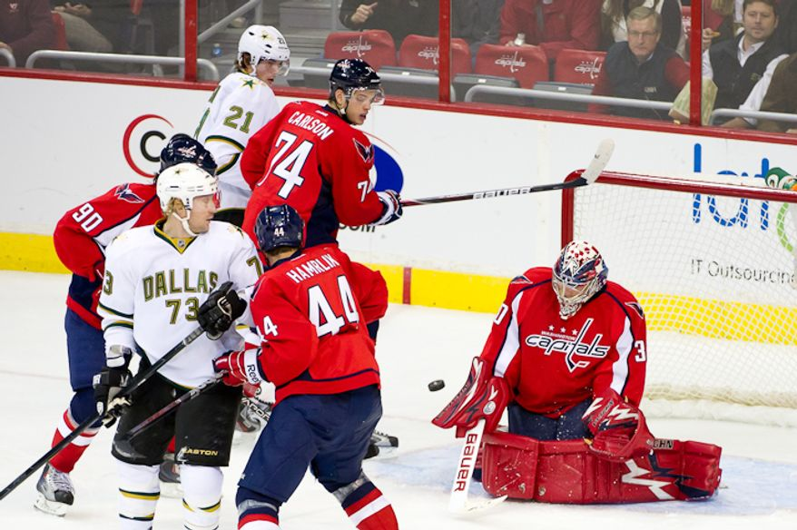 Goalie Michal Neuvirth (30) of the Washington Capitals blocks a shot against the Dallas Stars during the 1st  period at the Verizon Center in Washington, DC. Tuesday, November 8, 2011. (Andrew Harnik / The Washington Times)
