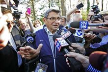 ** FILE ** Penn State football coach Joe Paterno speaks briefly to reporters as he leaves for football practice, Tuesday, Nov. 8, 2011, in State College, Pa. (AP Photo/The Citizens' Voice, Michael R. Sisak)