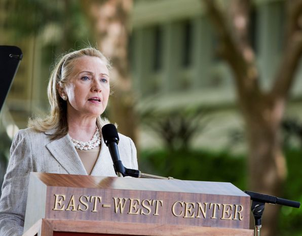 Secretary of State Hillary Rodham Clinton gives a speech Thursday on the campus of the University of Hawaii. Mrs. Clinton is attending the APEC Summit this week in Honolulu. President Obama and his wife, first lady Michelle Obama, are hosting the gathering of 21 Asia-Pacific nations. (Associated Press)