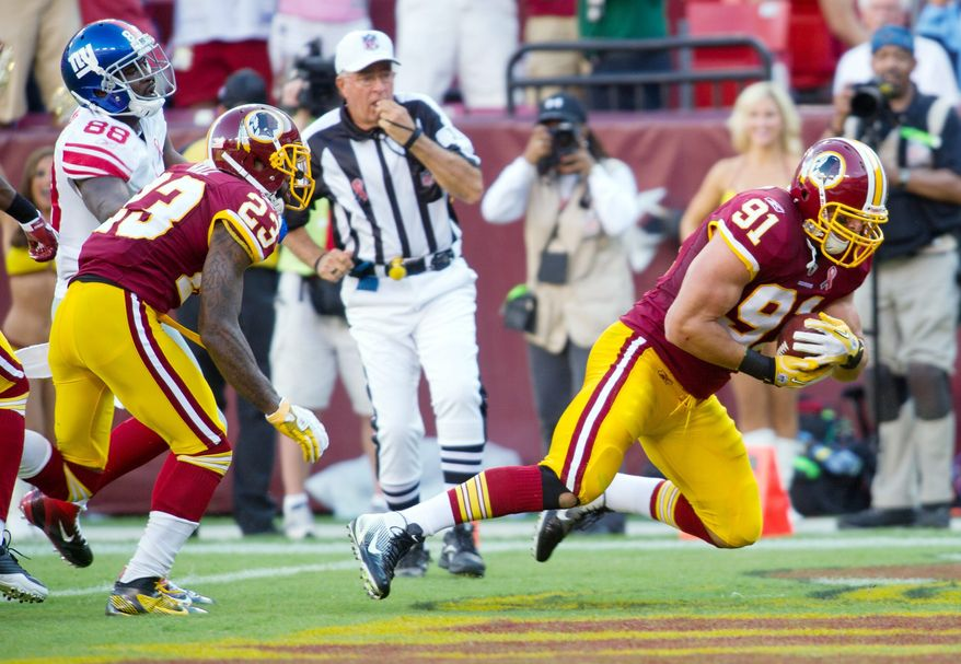 Redskins rookie Ryan Kerrigan has exceeded expectations. He returned his first career interception for a touchdown in Week 1. ( Rod Lamkey Jr./The Washington Times)