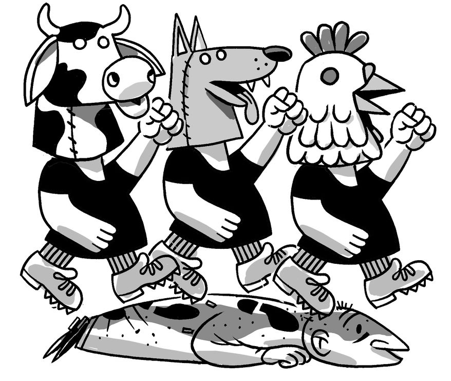 Illustration: Animal rights by Alexander Hunter for The Washington Times