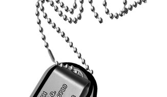 Illustration: Electronic dog tag by John Camejo for The Washington Times
