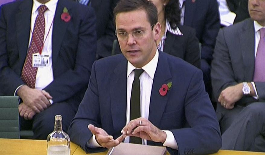 News Corp. executive James Murdoch testifies during a second appearance before British parliamentarians investigating the country's phone-hacking scandal in London on Thursday, Nov. 10, 2011. (AP Photo/Parliamentary Recording Unit via Associated Press Television News)