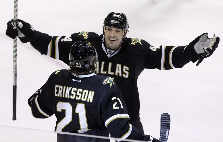 Dallas Stars defenseman Sheldon Souray has four goals and nine assists in 14 games this season. (AP Photo/LM Otero)