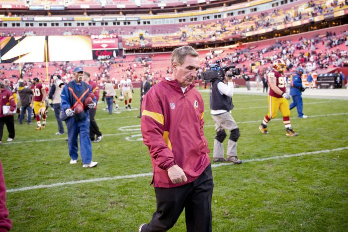 Redskins coach Mike Shanahan and Cleveland Browns president Mike Holmgren crossed paths in Super Bowl XXXII while with Denver and Green Bay, respectively. Both men are a long way from contending for the Vince Lombardi Trophy again. (Rod Lamkey Jr./The Washington Times)