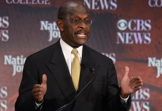Republican presidential candidate Herman Cain speaks Nov. 12, 2011, at the CBS News/National Journal foreign policy debate at the Benjamin Johnson Arena in Spartanburg, S.C. (Associated Press)