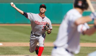 "Nationals prospect Rafael Martin, 27, shown during an Arizona Fall League game, thrives on the motion of his pitches. ""I find my release point where the ball is cutting a lot and I'll stay there,"" he said. He's setting his sights on starting the 2012 season at Triple-A. (Rick Scuteri/Special to The Washington Times)"